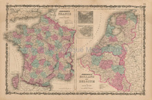 France Holland Antique Map Johnson 1862
