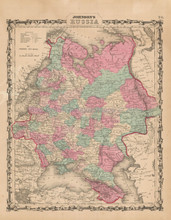 Russia in Europe Antique Map Johnson 1862