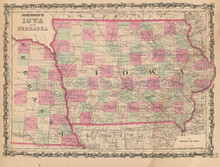 Nebraska Iowa Antique Map Johnson 1862