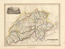 Switzerland Antique Map Wyld 1827