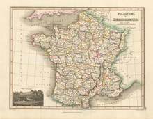 France Departments Antique Map Wyld 1827
