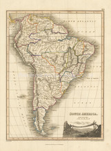 South America Antique Map Wyld 1827