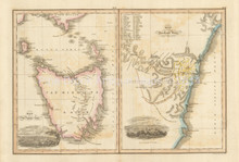 Van Diemen's Land New South Wales Antique Map Wyld 1827