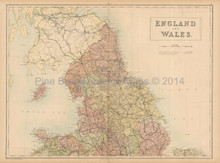 England Wales North Antique Map Black 1865