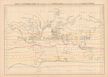 World Isothermal Lines Antique Map Black 1865