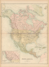 North America Antique Map Black 1865