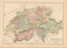 Switzerland Antique Map Black 1865