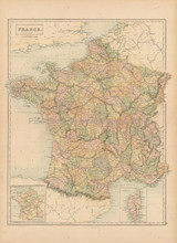 France Corsica Antique Map Black 1865