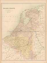 Holland Belgium Antique Map Black 1865