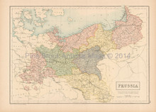 Prussia Antique Map Black 1865