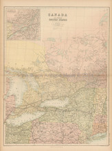 Canada North USA Antique Map Black 1865