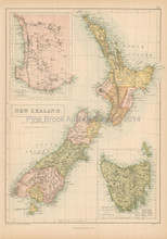New Zealand Antique Map Black 1865
