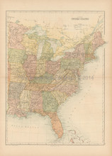 Eastern United States Antique Map Black 1865