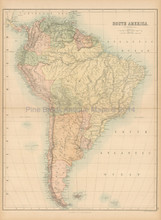 South America Antique Map Black 1865