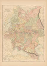Russia In Europe Antique Map Black 1865