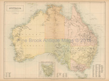 Australia Antique Map Black 1865
