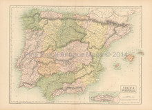 Spain Portugal Antique Map Black 1865