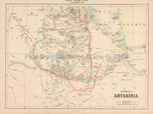 Ethiopia Antique Map Black 1867