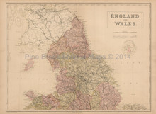 England Wales North Antique Map Black 1867