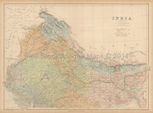 Northern India Antique Map Black 1867