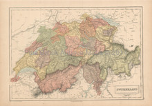 Switzerland Antique Map Black 1867