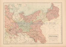 Prussia Antique Map Black 1867