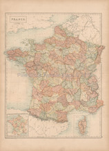France Corsica Antique Map Black 1867