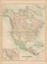 North America Antique Map Black 1867