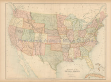United States Antique Map Black 1867