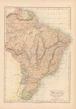 Brazil Uruguay Antique Map Black 1867