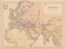 World Known To Ancients Antique Map Black 1867