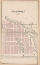Ocean Beach New Jersey Antique Map Woolman & Rose 1878