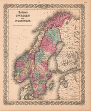 Sweden Norway Scandinavia Antique Map Colton 1859