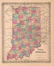 Indiana IN Antique Map Colton 1859