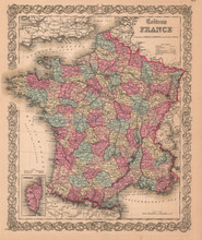 France La France Antique Map Colton 1859