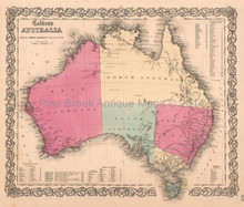 Australia Tasmania Antique Map Colton 1859