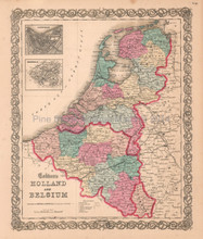 Holland Belgium Netherlands Antique Map Colton 1859