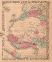 Morocco Nigeria Liberia Africa Antique Map Colton 1859