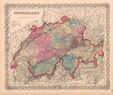 Switzerland Sussie Schweiz Antique Map Colton 1859