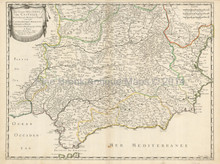 Southern Spain Antique Map Sanson 1652
