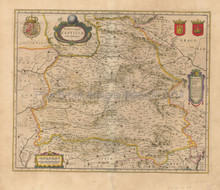 Castile Madrid Spain Antique Map Blaeu 1640