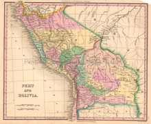 Peru Bolivia Antique Map Tanner 1836