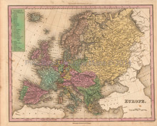 Europe Antique Map Tanner 1836