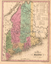 Maine Antique Map Tanner 1836