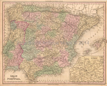 Spain Portugal Antique Map Tanner 1836