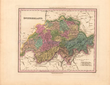 Switzerland Antique Map Tanner 1836
