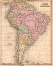 South America Antique Map Tanner 1836