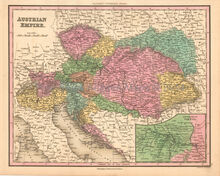 Austrian Empire Antique Map Tanner 1836