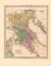Northern Italy Antique Map Tanner 1836