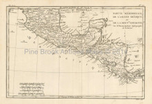 South Mexico Antique Map Bonne 1780